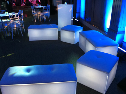 Rent lighted acrylic cocktail tables, bars, lounge furniture-