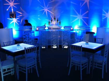 Superbe Blue, Lighted, Acrylic Bar And Tables